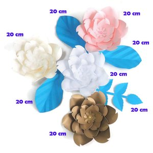 DIY Artificial Flowers Fleurs Artificielles Backdrop Giant Paper Rose 4PCS + 4 Leaves For Wedding Party Decoration Baby Shower