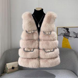 Women Warm Fur Furry Jacket 100% Genuine Autumn Winter Coat Fashion Sleeveless Cool Luxury Fur Vest Ladies Gilet