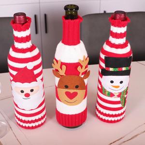 navidad cubierta de la botella de tejer de santa muñeco de nieve alces vino del champán cubierta de la botella Feliz Navidad botella de punto jersey de decoración OOC2915