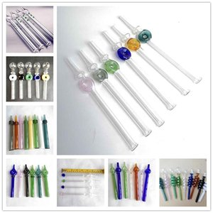 Glass Straw Dab Pipes Rig Stick 15cm 20cm Oil Burners Smoking Dotted Pipes 12 Styles For Glass Water Bongs Pen Mouthpiece