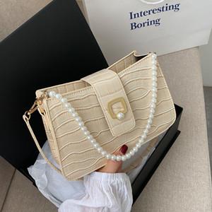 HBP Luxuryflash Women Mini Small Underarm Bag 2021 New Shoulders Bags Stone Crocodile Pattern Pearl Chain Messenger Purse Wholesale 5 Color