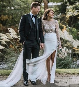 Romantic See Through Boho Sheath Wedding Dress 3D Floral Appliques Illusion Long Sleeve Bohemian Bridal Gowns Side High Split Custom Made