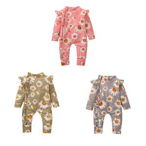 INS TODDLER Bébé Bébé Girls Floral Rompes en coton tricoté Vols Fly Sleeve Zipper Automne Nouveau-né Enfants garçons Jumpseaux pour 0-2T