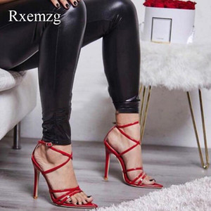 Sandalet RXEMZG 2021 Yaz Kadın Yüksek Topuklu Seksi Moda Ayak Bileği Kayışı Açık Toe PU İnce Bayanlar Parti Ayakkabı Kadın Düğün