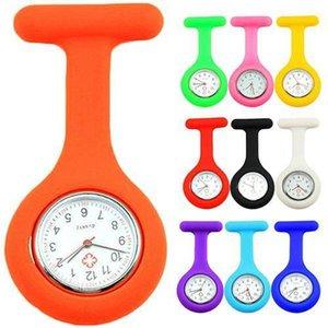 حركة الجملة -NEW لطيف سيليكون ووتش ممرضة بروش فوب جيب تونك كوارتز ساعة N76y