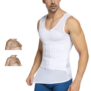 Mens Shapewear respirável malha Shaper Corpo gancho de fechamento ajustável Controle Tummy Tops Vest cintura instrutor Slimming Abdomen Tanque