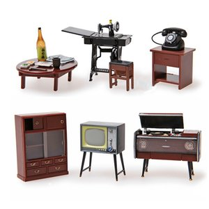 Odoria 6PCS 01:24 Japon Vintage Mobilya Dollhouse Minyatür Aksesuar dolabı Magnet Seti Dekor Oyuncak Hediye 1019
