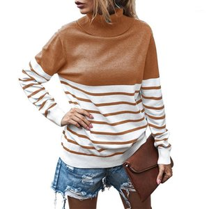 Mulher Outono Inverno Turtleneck Turtleneck Striped Patchwork Longa Solta Moda Sweater S-XL Hot Sale1