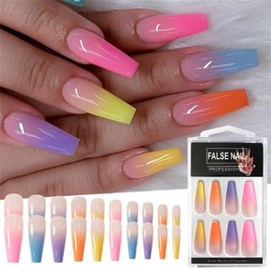 20pcs Box Gradient Color False Nails Rainbow Ballerina Coffin Full Nail Art DIY Tips Colorful Acrylic Fake Nails Manicure Tools