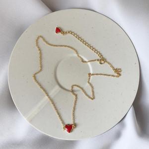 925 Sterling Silver Duplo vermelho minúsculo Glaze coração pingentes colares para as mulheres Genuine colar Sliver Jóias Lady presente Collier