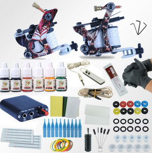Nuevo kit de máquinas de tatuaje profesional completo Conjuntos 2 ametralladoras para arte corporal 6colors tintas de fuente de alimentación