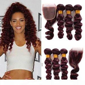 Le plus cher Nouveau Mink 99J Péruvien Loose Wave Cheveux avec fermeture 4x4 3 Bundles avec fermeture en dentelle Vin rouge 99J Vierge Human Cheveux Hair Weave
