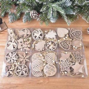 Natale in legno squisite decorazioni fiocco di neve Laser sospensione Natale legno intagliato Hollow piccolo ciondolo Xmas Tree Ornament EWA1857