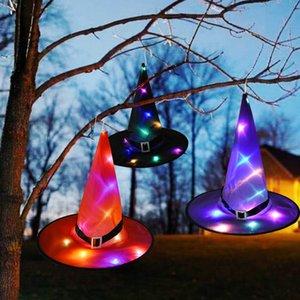 DHL Free Halloween светодиодных лампы Witch шляпа Хэллоуин украшения Cap костюм Реквизит Открытое дерево висячего украшения Главной Glow партия Декор YJL88