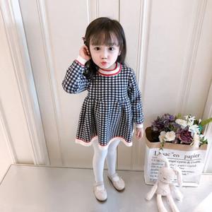 Kız Sonbahar Elbise 2020 Sıcak Satış Ekose Örme Etek Bebek Çocuk Moda Triko Elbise kız Sevimli Lolita Stil Uzun Kollu Elbise