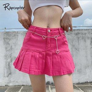 Rapcopter Women Y2K Jeans Skirts High Waist Pleated Skirts Zipper Mini Summer New 90S Streetwear E-Girl Sexy Short