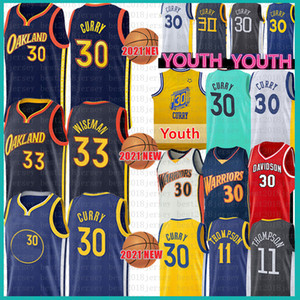 Hommes Jeunesse Stephen 30 Curry 33 Wiseman Basketball Jersey Klay 11 Thompson Davidson Wildcats NCAA College Jerseys