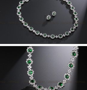 more color noble diamond crystal wedding bride set necklace earings up-market ( necklace'45cm*4mm,earings