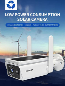 INQMEGA Low Power Solar camera panel Rechargeable Battery 1080P Wide View surveillance camera Full HD Outdoor Indoor Security Wi