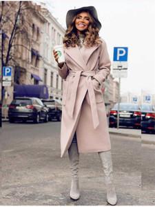 Fixsys Mäntel Frauen Parkas Taschen Gürtelte Jacken Solide Farbe Oberbekleidung Europäische und amerikanische Temperament