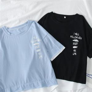 Summer Basic Loose Cotton T Shirts harajuku Short Sleeve Letter print T-shirts Irregular patchwork Student Tee Tops Street Wear