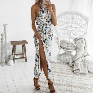 women's dress 2021 Fashion Women Print Boho Floral Long Maxi Dress Sleeveless Evening Party Summer Beach Sundress O-Neck