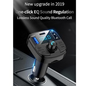 New Bluetooth 5.0 Fm Transmitter Car Kit MP3 Modulator Car Charger QC3.0 Double USB with LED Lattice Sn EQ Mode