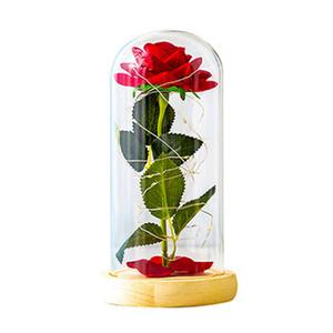 Romântico Everlasting Flor de vidro Tampa Decoração Flores tampa de vidro preservada partido do dia decoração do casamento dos Namorados Rose suprimentos IIA755