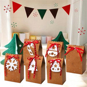 1PC Kraft Paper Candy Box Christmas Gift Packaging Handbag Craft Bakery Cookies Biscuits Package Bags Xmas New Year Party Favor