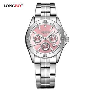 Longbo lujo de la manera mujeres de los relojes casual banda de acero inoxidable cuarzo de las mujeres Relojes Ocio impermeable de señora reloj de 8342