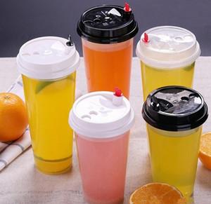 700 ملليلتر 24 أوقية أكواب بلاستيكية يمكن التخلص منها الباردة الساخنة المشروبات عصير القهوة كأس شاي حليبي رشاقته شفافة شرب أداة مع غطاء