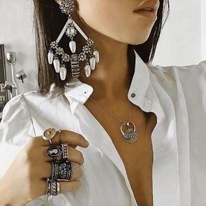 Kadınlar Brincos Yeni Geliş Moda Simüle-inci Kolye Elmas taklidi Bırak Küpe için Ztech Büyük Bildirimi Küpe