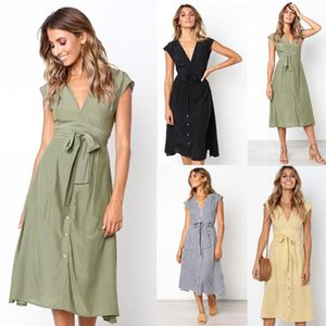 2021 Summer Spring Sexy V-neck Button Striped Dress Women Casual Knee-Length Sleeveless Lace Up Bow A-Line Dress Vestido