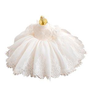 Little Baby Girl Vintage Bautening Bouting Gown Boutiques Encaje Flower Girls Bautismo Vestido para niños Vestidos de cumpleaños de invierno 1-11Y W1227