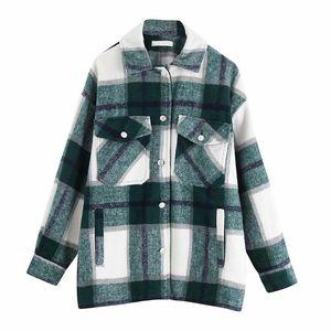Faylisvow Vintage Women Plaid Coat Jacket Casual Stylish Pockets Chic Oversize Spring Turn Down Outwear Long Sleeve Overcoat