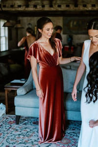 Velvet Mermaid Bridesmaid Dresses V Neck Backless Floor Length Ruffles Country Beach Wedding Guest Party Gowns Maid of Honor Dress Simple