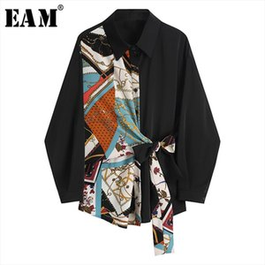 [EAM] Women Black Pattern Printed Bandage Big Size Blouse New Lapel Long Sleeve Loose Fit Shirt Fashion Spring Summer 2021 1Y892