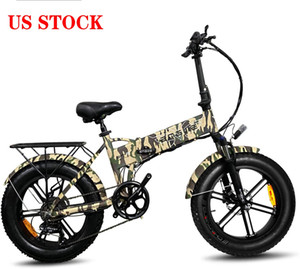 US STOCK Electric Bicycle 500W 20-inch Fat Tire Mountain Beach Snow Bikes for Adults Electric Scooter 7 Speed Gear E-Bike W41215025