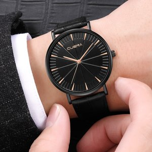 Top Marca Redonda Dial Dial Relojes Relojes Masculino Cuero Cuero Simple Moda Militar Militar Militar Casual Analógico Reloj de cuarzo