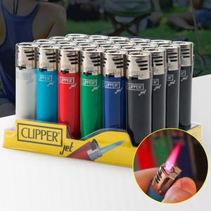 Originale Clipper Jet Lighter Straight Flame Gas Butane Butane Flint Pipe Smoking Accendistero Gommone Compatto Compatto Portatile Portatile Vendita all'ingrosso senza gas