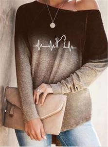 Tee Designer Female Crew Neck Tops Loose Casual Tshirts Womens ECG Pattern T-shirt Fashion Gradient Long Sleeve