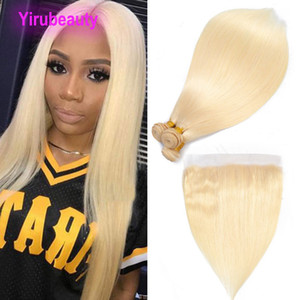 Brazilian Human Hair 613# Color Straight Body Wave Bundles With 13*4 Lace Frontal Baby Hair 4 Pieces Hair Extensions With 13X4 Frontal