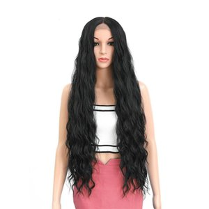 42inch Synthetic Lace Front Wigs Long Deep Wave Ombre Wigs for Black Women Kanekalon Cosplay Wig Fake Hair Black Brown 551