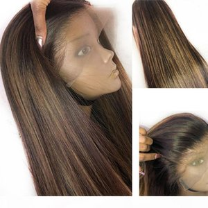 13x6 Dentelle Front Human Hair Perruques Péruvien Vierge Cheveux Glresse Preppled Avec Baby Cheveux Ombre Straights Stroit Points forts Honey Blonde Color Wig