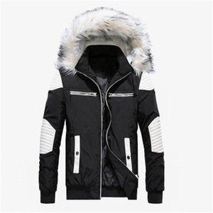 Пальто с большим меховым воротником мода Открытого капюшон вниз куртками Людей конструктора Zipper отворота шея сгущает пальто Съемных Hat Верхней одежду мужчины Длинного
