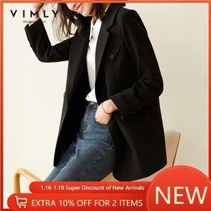 Vouette de laine d'hiver vimly pour femmes Mode Notched Double boutonnage épais manteaux chauds élégants féminin Blazer Blazer Overcoat F5303