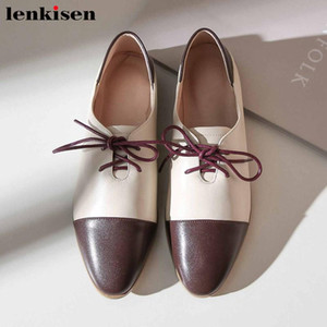 Lenkisen soft genuine leather British style mixed colors round toe low heels lace up fashion leisure comfortable women pumps L25