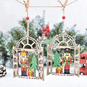 Árbol de Navidad colgante Soldado Soldado del cascanueces de madera ventana Inicio Ornamentos colgantes decoración regalos de Año Nuevo DDA616
