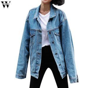 Womail Высокое Качество Пальто и Куртки Женщины Свободные Джинсы Джинсы с длинным рукавом Ретро Ковбой Джинсовые Свободные Повседневные Куртки Синяя Верхняя одежда
