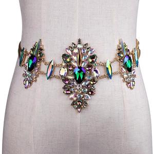 Hot sell women metal chain crystal belts bikini sexy low waist body chain alloy belt elaticity female waist accessories Y200501